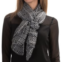 "La Fiorentina 100% Silk Scarf - 40x72"" (For Women) in Black/White Geometric Checker - Closeouts"