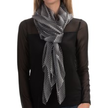 "La Fiorentina 100% Silk Scarf - 40x72"" (For Women) in Black/White Geometric Stripe Dot - Closeouts"