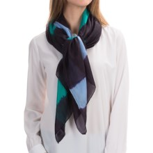 "La Fiorentina 100% Silk Scarf - 40x72"" (For Women) in Navy/Blue/Green Combo - Closeouts"