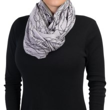La Fiorentina Abstract Wool Scarf - Line and Dot Pattern (For Women) in Black - Closeouts