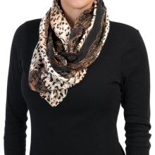 "La Fiorentina Animal and Lace Print Scarf - 74x32"" (For Women) in Brown - Closeouts"