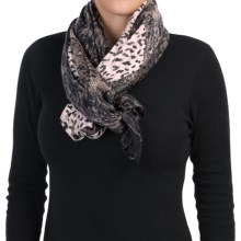 "La Fiorentina Animal and Lace Print Scarf - 74x32"" (For Women) in Grey - Closeouts"