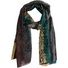 La Fiorentina Animal Print Scarf - Silk (For Women) in Teal/Mustard/Burgundy - Closeouts