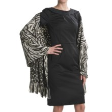 La Fiorentina Animal Print Wrap with Rabbit Fur Fringe - Reversible, Wool (For Women) in Black - Closeouts