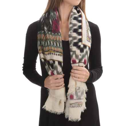 La Fiorentina Aztec Oversized Scarf (For Women) in Ivory With Berry/Green/Black Multi - Closeouts