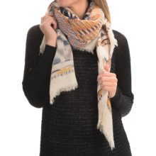 La Fiorentina Aztec Oversized Scarf (For Women) in Ivory With Brown/Denim Blue Multi - Closeouts