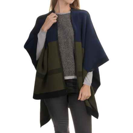 La Fiorentina Color-Blocked Knit Ruana (For Women) in Black/Navy/Chartreuse - Closeouts