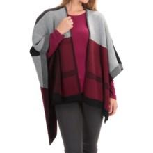 La Fiorentina Color-Blocked Knit Ruana (For Women) in Red/Black/Grey Combo - Closeouts