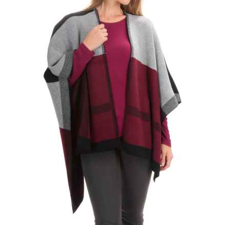 La Fiorentina Color-Blocked Knit Ruana (For Women) in Red/Black/Grey Combo - Closeouts