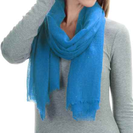 "La Fiorentina Featherweight Cashmere Scarf - 27x70"" (For Women) in Blue - Closeouts"