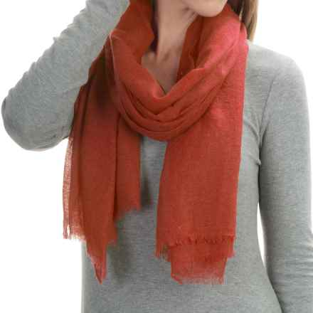 "La Fiorentina Featherweight Cashmere Scarf - 27x70"" (For Women) in Rust Red - Closeouts"