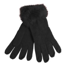 La Fiorentina Gloves - Tonal Rabbit Fur Cuffs (For Women) in Black - Closeouts