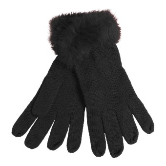 La Fiorentina Gloves - Tonal Rabbit Fur Cuffs (For Women) in Black