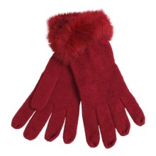 La Fiorentina Gloves - Tonal Rabbit Fur Cuffs (For Women) in Red - Closeouts