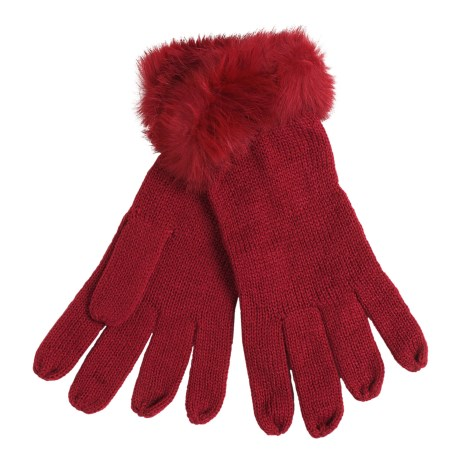 La Fiorentina Gloves - Tonal Rabbit Fur Cuffs (For Women) in Red