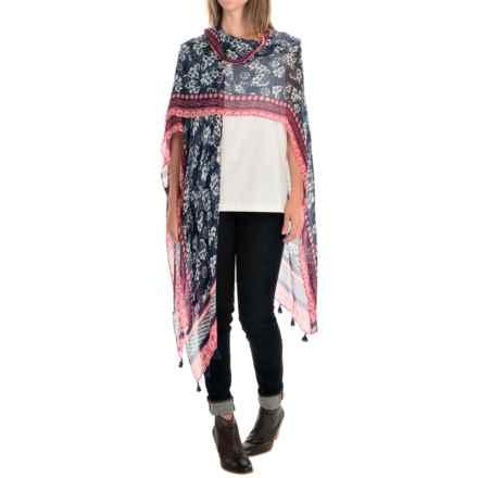 La Fiorentina Kimono Shawl - Viscose (For Women) in Black/Coral Combo - Overstock