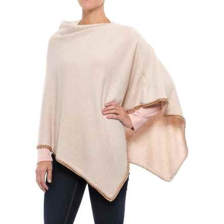 La Fiorentina Knit Poncho - Chain Trim (For Women) in Beige - Closeouts