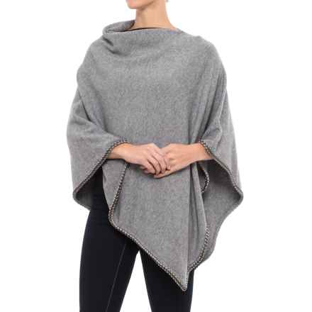 La Fiorentina Knit Poncho - Chain Trim (For Women) in Grey - Closeouts