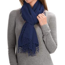 "La Fiorentina Lacey Wool-Silk Scarf - 24x72"", Pompom Fringe (For Women) in Navy - Closeouts"