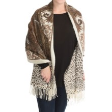 "La Fiorentina Leopard and Snake Print Wool Wrap - 70x28"", Reversible (For Women) in Ivory/Brown - Closeouts"