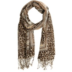 La Fiorentina Lightweight Animal Mix-Up Scarf - Mercerized Wool (For Women) in Brown Combo