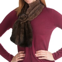 La Fiorentina Mink Slip-Thru Muffler with Rosette (For Women) in Brown - Closeouts