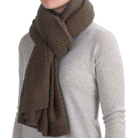 La Fiorentina Oversized Chunky Knit Scarf (For Women) in Brown - Closeouts
