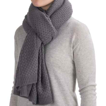 La Fiorentina Oversized Chunky Knit Scarf (For Women) in Grey - Closeouts