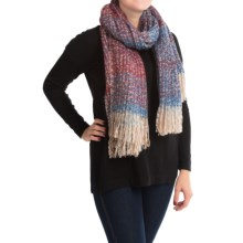 "La Fiorentina Oversized Plush Comfy Scarf - 70x30"" (For Women) in Blue/Red - Closeouts"