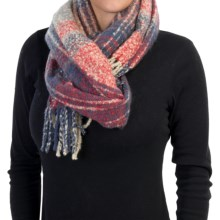 """La Fiorentina Oversized Plush Plaid Scarf - 70x23"""" (For Women) in Red/Grey/Navy - Closeouts"""