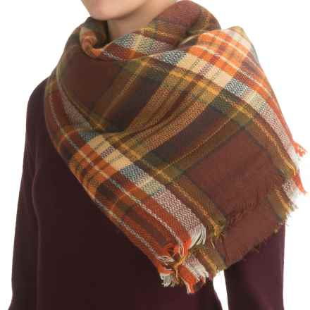 La Fiorentina Oversized Square Plaid Scarf (For Women) in Natural - Closeouts