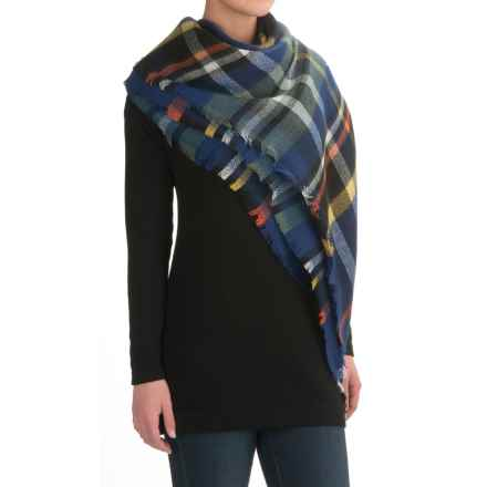La Fiorentina Oversized Square Plaid Scarf (For Women) in Navy - Closeouts