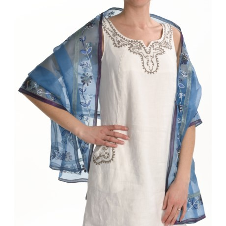 La Fiorentina Patchwork Wrap - Silk (For Women) in Blue