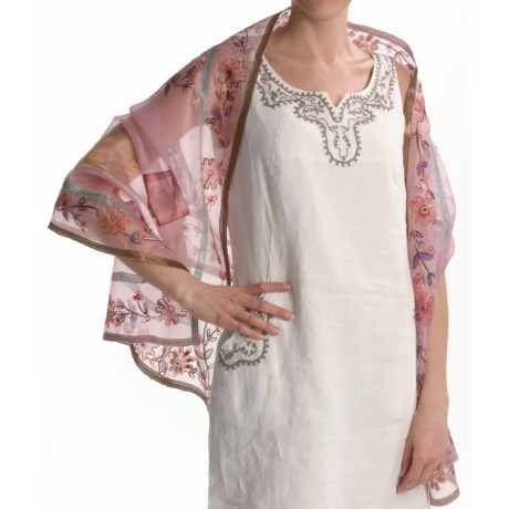 La Fiorentina Patchwork Wrap - Silk (For Women) in Pink