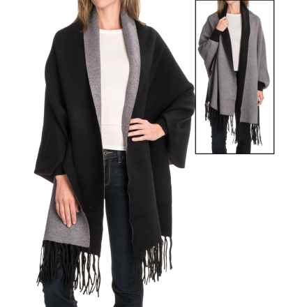 La Fiorentina Reverse Two-Tone Fringe Shawl (For Women) in Black/Grey - Closeouts