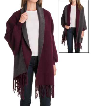 La Fiorentina Reverse Two-Tone Fringe Shawl (For Women) in Wine/Grey - Closeouts