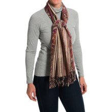 La Fiorentina Reversible Paisley and Stripes Scarf (For Women) in Pink/Brown Combo - Closeouts