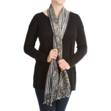 La Fiorentina Reversible Paisley and Stripes Scarf (For Women) in Purple/Blue Combo - Closeouts