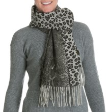 La Fiorentina Reversible Wool Scarf - Animal Print, Paisley (For Women) in Grey Snake - Closeouts