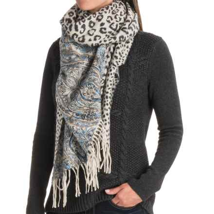 La Fiorentina Reversible Wool Wrap Scarf (For Women) in Blue - Closeouts