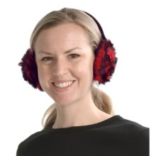 La Fiorentina Rosette Earmuffs - Rabbit Fur (For Women) in Red/Black - Closeouts