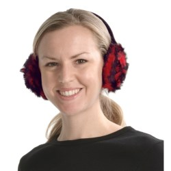 La Fiorentina Rosette Earmuffs - Rabbit Fur (For Women) in Red/Black