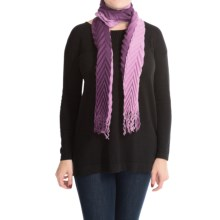 "La Fiorentina Shaded and Pleated Wool Scarf - 62x6"" (For Women) in Amethyst - Closeouts"