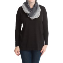 "La Fiorentina Shaded and Pleated Wool Scarf - 62x6"" (For Women) in Dark/Light Grey - Closeouts"