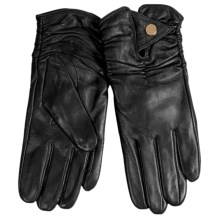 La Fiorentina Sheep Leather Ruched Gloves (For Women) in Black - Closeouts
