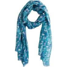 La Fiorentina Stamped Circle Print Scarf - Silk (For Women) in Blue - Closeouts