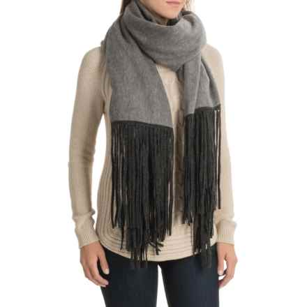 La Fiorentina Wool and Cashmere Blend Wrap with Fringe (For Women) in Grey - Closeouts