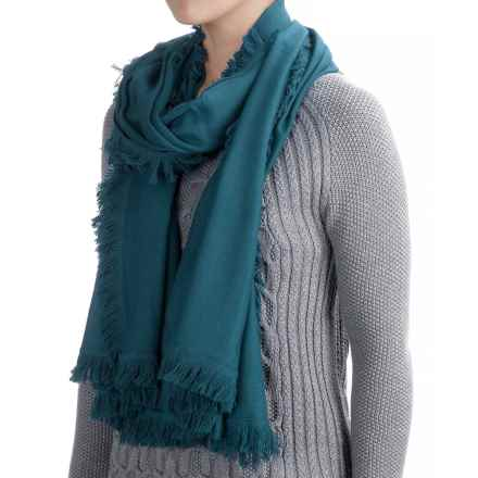 La Fiorentina Wool-Cashmere Scarf - Eyelash Fringe (For Women) in Teal - Closeouts