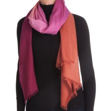 La Fiorentina Wool Ombre Scarf with Eyelash Fringe - Wool-Cashmere (For Women) in Magenta Ombre - Closeouts