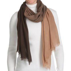 La Fiorentina Wool Ombre Scarf with Eyelash Fringe - Wool-Cashmere (For Women) in Mocha Ombre